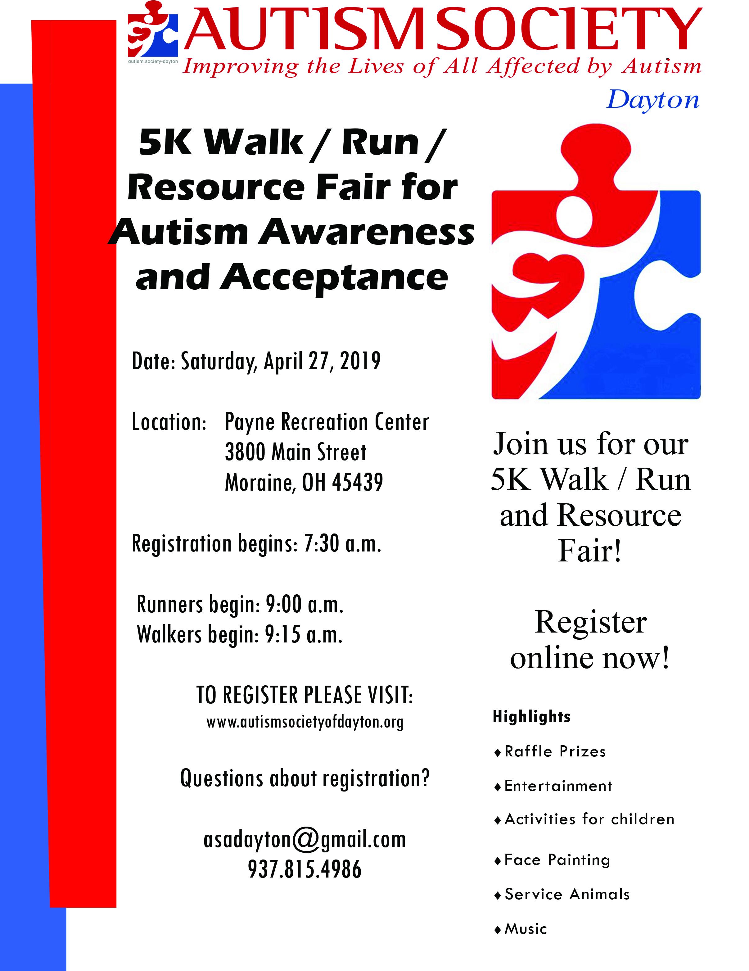 DAYTON, OH AUTISM SOCIETY 5K WALK/RUN & RESOURCE FAIR: APRIL 27th, 2019